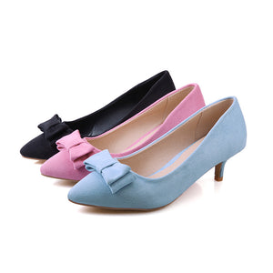 Sweet Bow Pumps Flock High Heels Fashion Women Shoes 8545