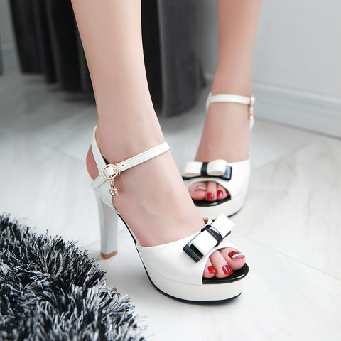 Bowtie Platform Sandals Women Pumps Ankle Straps High Heels Shoes Woman