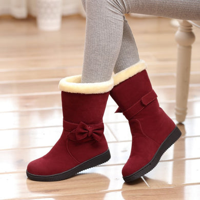 Women Boots Bowtie Mid Calf Boots Fur Winter Shoes Woman 2016 3511