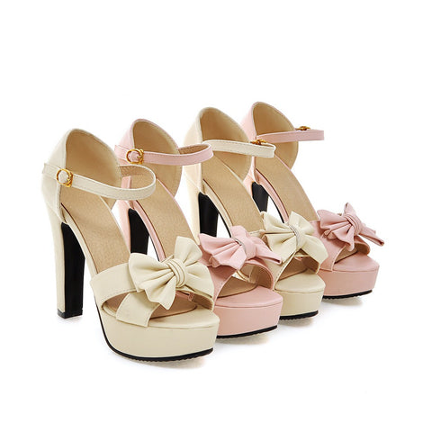 Women Sandals Bow Ankle Straps Pumps Platform High-heeled Shoes