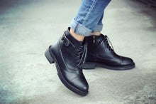 Load image into Gallery viewer, Black Ankle Boots Low Heeled Buckle Shoes Woman