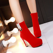 Load image into Gallery viewer, Rhinestone Ankle Boots High Heels Women Shoes Fall|Winter 3055