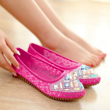 Load image into Gallery viewer, Women Flats Rhinestone Lace Ballet Shoes Woman Loafers 3094