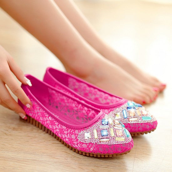Women Flats Rhinestone Lace Ballet Shoes Woman Loafers 3094