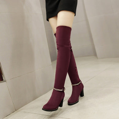 Chains Over the Knee Boots High Heels Women Shoes Fall|Winter 1604