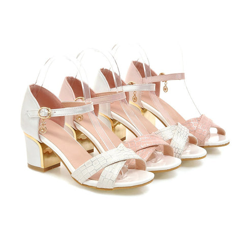 Summer Stone Pattern Sandals Pumps Ankle Strap High-heeled Shoes Woman