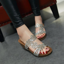 Load image into Gallery viewer, Women Sandals Rhinestone Slipper Platform Shoes