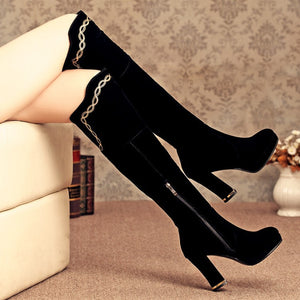 Side Zipper Black Knee High Boots High Heels Shoes Woman
