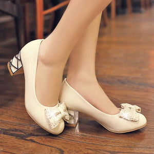 Bowtie Women Pumps Patent Leather High Heels Shoes Woman