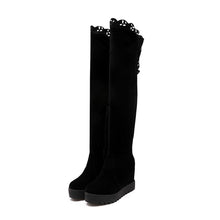 Load image into Gallery viewer, Black Over the Knee Boots Wedges Shoes Fall|Winter 1034