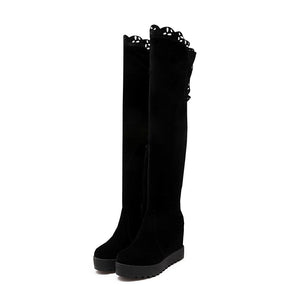 Black Over the Knee Boots Wedges Shoes Fall|Winter 1034