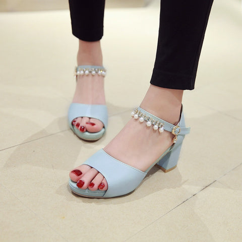 Women Sandals Rhinestone Pearl Ankle Straps Pumps Platform High-heeled Shoes