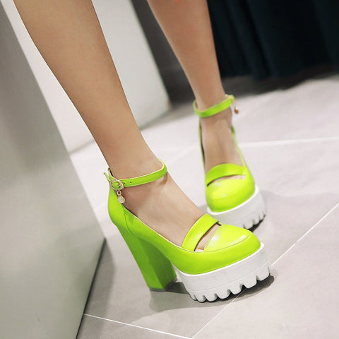 Ankle Straps Women High Heel Shoes Candy Color New Arrive Pumps 2016
