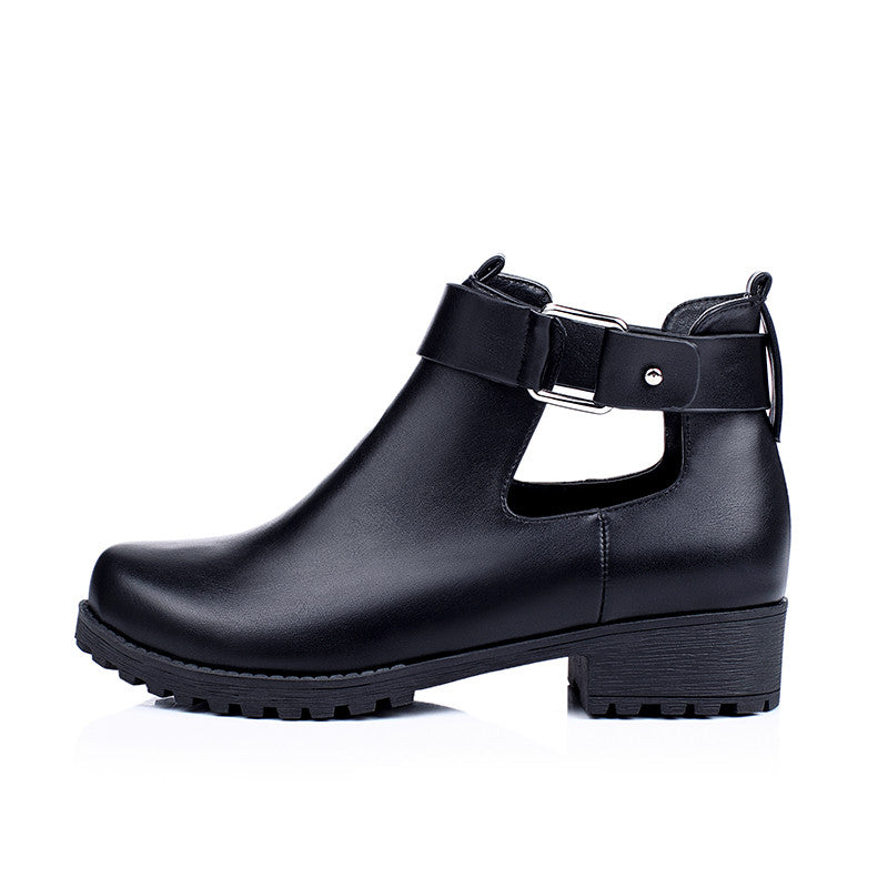 Round Toe Women Boots with Buckle PU Leather Low Heeled Women Shoes 7575