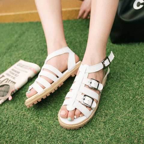Buckle Flat Gladiator Sandals Women Shoes 9534