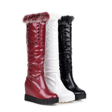 Load image into Gallery viewer, Rabbit Fur Wedges Knee High Boots with Studded Fall|Winter 8876