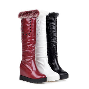 Rabbit Fur Wedges Knee High Boots with Studded Fall|Winter 8876