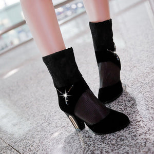 Lace High Heels Boots Rhinestone Zipper Shoes Woman