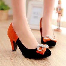 Load image into Gallery viewer, Women Pumps Rhinestone Round Toe Flock High Heels Shoes Woman 3421