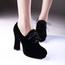 Load image into Gallery viewer, Round Toe Women Pumps Platform Black Lace Up High Heels Shoes Woman