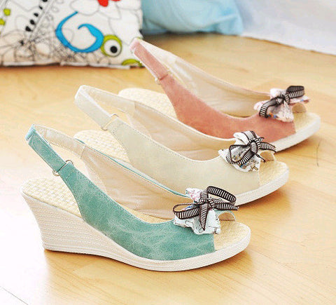 Knot Wedges Platform Sandals Women Peep Toes Shoes Woman