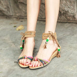 Ankle Wrap Wedge Sandals Covered Heel 1927
