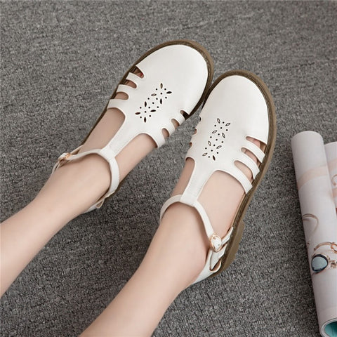 Covered Toe T Straps Hollow Out Women Low Chunky Heels Sandals 2294