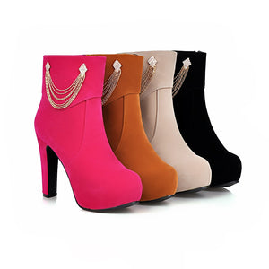 Rhinestone Ankle Boots High Heels Women Shoes Fall|Winter 8947