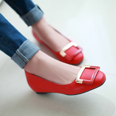 Metal Buckle Round Toe PU Leather Women Flats