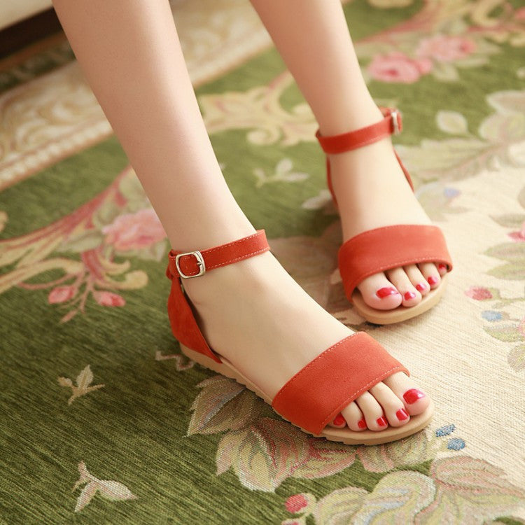 Flock Ankle Strap Flat Sandals Women Shoes 4787
