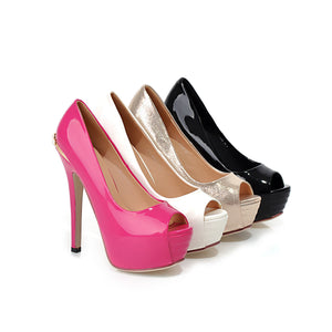 Patent Leather Peep Toes Pumps Platform High Heels Fashion Women Shoes 4204