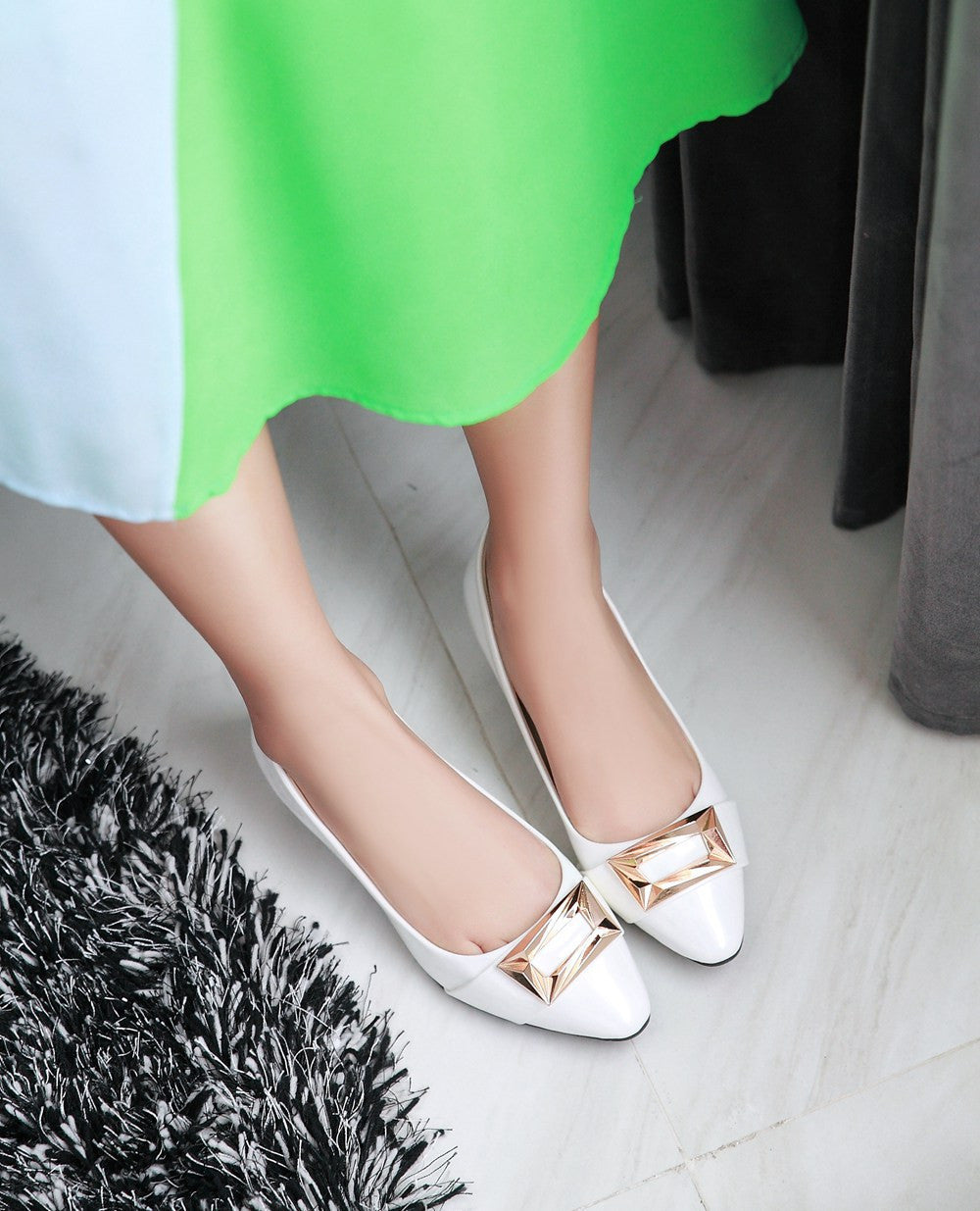 Women Pumps Pointed Toe Sequined Pu Leather Jelly Shoes Woman 3431
