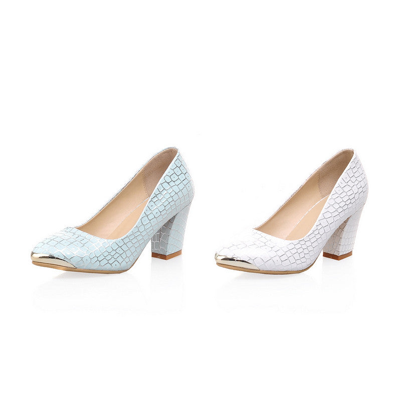 Pure Color Chunky Heel Pumps Platform High Heels Women Shoes 6300