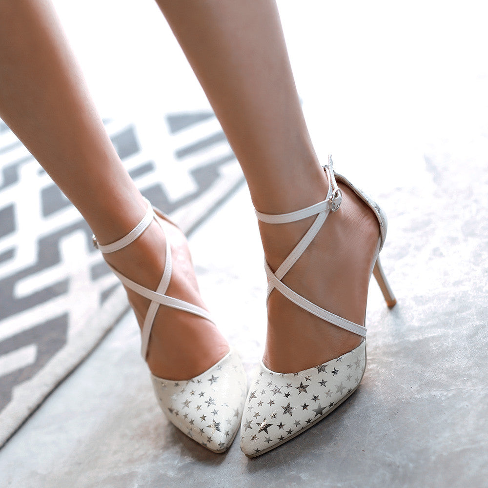 Fashion Star Pattern Sandals Pumps Stiletto Heel High Heels Women Dress Shoes 9635