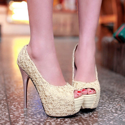 Lace Women Platform Pumps High Heels Stiletto Heel Wedding Shoes Woman