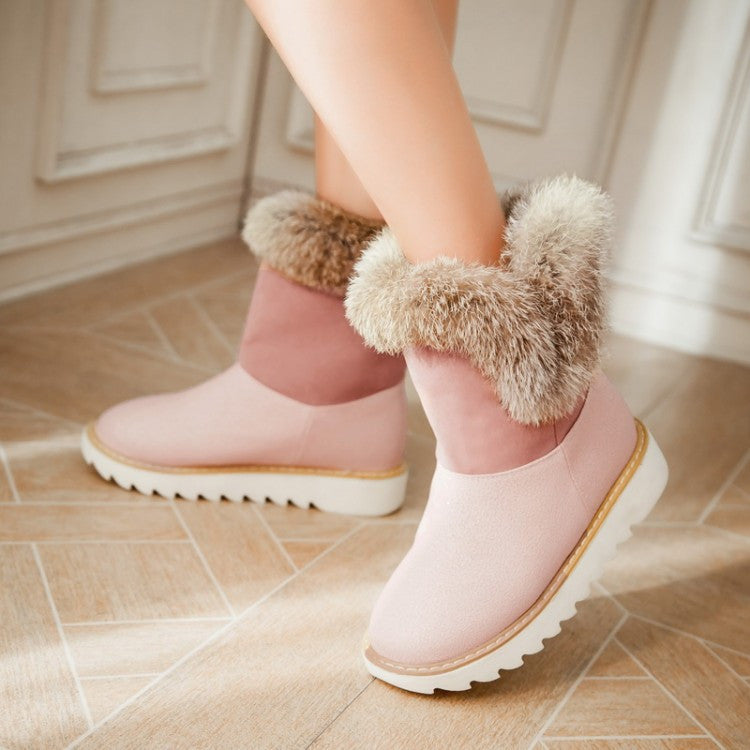 Rabbit Fur Women Snow Boots Winter Platform Shoes Woman 2016 3482