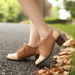 Lace Up Women Chunky Heel Pumps High Heels Shoes 3214