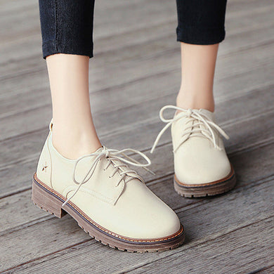 Candy Colors Lace Up Low Chunky Heel Women Oxfords Shoes 7382