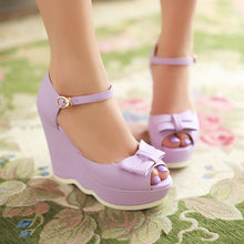 Load image into Gallery viewer, Fashion-Bow-Wedges-Sandals-Women-Pumps-Platform-Shoes 2735