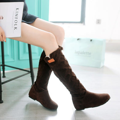 Faux Suede Flats Knee High Boots 4776