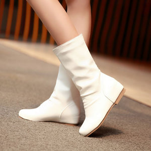 Soft Leather Women Mid Calf Boots Wedges Shoes Woman 3361