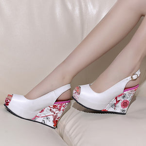Peep Toe Platform Wedges Sandals Women Pumps Floral Printed High Heels Shoes Woman 3544