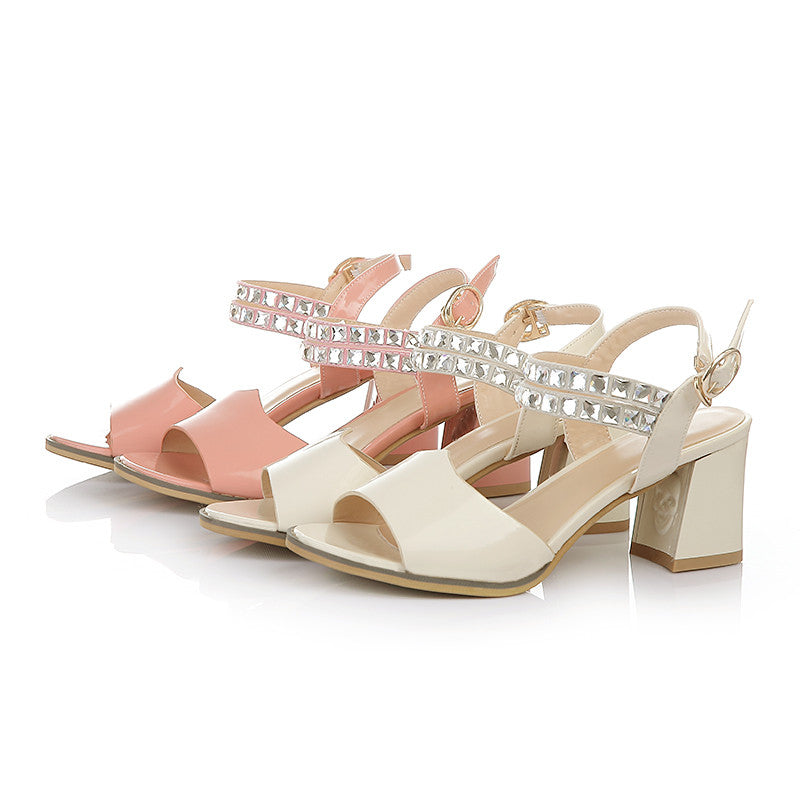 Fashion Rhinestone High Heels Sandals Women Pumps Shoes 5452