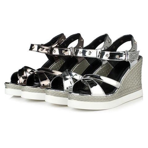 Women Sandals Cross Belt Wedges Platform Shoes