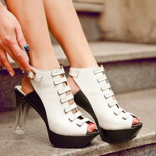 Load image into Gallery viewer, Gladiator Sandals Buckle Platform Sandals Women Chunky Heel Pumps High Heels Shoes Woman
