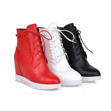 Load image into Gallery viewer, Studded Wedges Boots Lace Up Platform Shoes Fall|Winter 3326