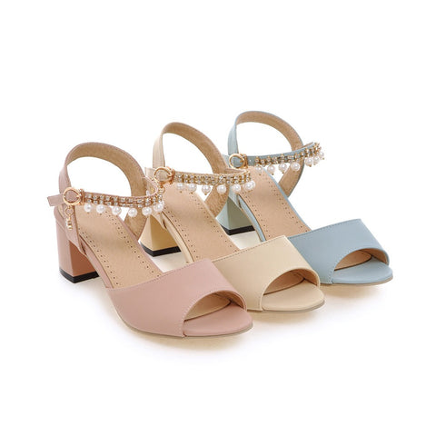 Women Sandals with Pearl Ankle Straps Pumps Platform High-heeled Shoes