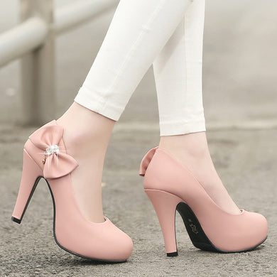 Rhinestone Bow High Heels Women Pumps Platform Shoes 1273