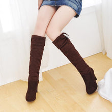 Load image into Gallery viewer, Rhinestone Knee High Boots High Heels Artificial Suede Shoes Woman 3333