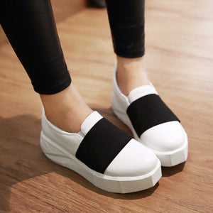 Casual Women Wedges Pu Leather Loafers Platform Shoes